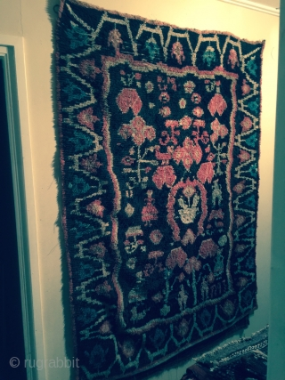 Old Finnish double sided ryijy rug, dated 1797, 191x139 cm. Due to corrosion there is a lot of repiling in mostly the dark ground.