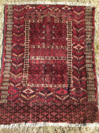 Antique Tek(k)e engsi, second half 19th c. All good colors and some of the yellow knots looks like silk. I have washed it. Some were and reduced at the top but still  ...