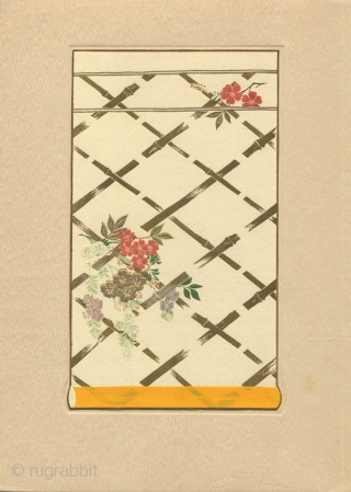 A very fine Japanese deluxe portfolio, Asuka Moyo (Asuka Pattern), complete with ten loose plates of kimono and obi designs, compiled by Nagai Toyotaro , published in 1933 by the textile section  ...