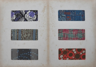 Large Japanese book of French textile samples with title Façon Moderne published by a Japanese textile firm in 1926.  The book is 45,5 x 32,5 cm. and comprises two pages of  ...