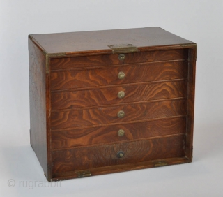 Japanese fine keyaki wood (zelkowa) collector cabinet with engraved brass lock and fitting. With detachable front door and six internal drawers for storage of inro, netsuke or tsuba.  19th or early 20th century  27x33x19 cm.  Five  ...