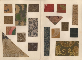 A Japanese album with a collection of Japanese brocade fragments. Fifty examples pasted on five pages.  The album mid 20th century, the textiles 18th-19th century.