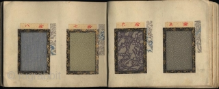 Japanese sample book with 72 numbered textile samples with small decorative designs (komon) printed by stencil (katagami) mounted on 26 pages. Probably from the Kyoto textile dealer Imamura Shinsuke. Untitled. One volume,  ...