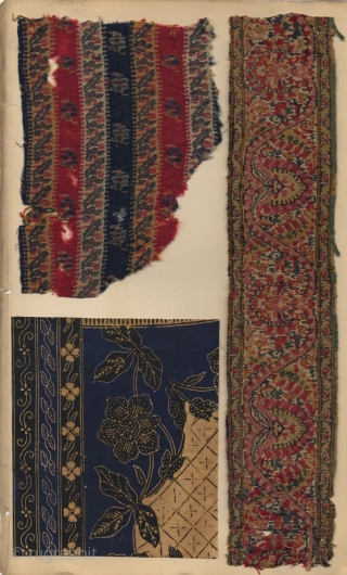 Large Japanese album with 23 fragments of Indian textiles pasted on 8 pages, including early sarasa, brocade, Kashmir and Islamic fragments. 39x24 cm.