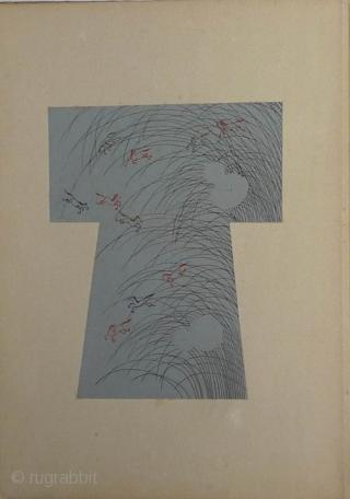 Japanese woodblock book by Ueno Tameji (1906-1960). Orihon album , 33x23 cm. Ten plates of fine designs for kimono printed in colour and metallic pigments.Title Yojo hinagata. One volume of four. Published  ...