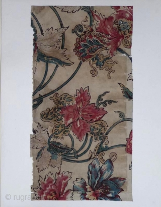 A collection made in Japan of fifteen large textile fragments mounted on cards 48x37 cm. Including about nine large Indonesian batik fragments, eleven examples of Indian saraza and some western textiles used in  ...