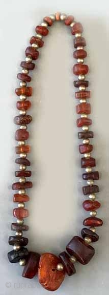 "Large size antique baltic amber with silver beads 31"" or 15 1/2 Long 200  gms."
