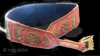 Vintage applique  leather and brocade belt Tibetan 1930's /40's.