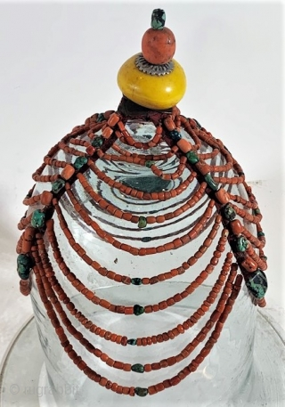 Original coral, turquoise , silver headdress from East Tibet, and  Bhutan.