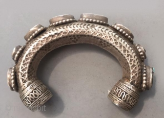 Silver and turquoise bracelet from Saudi Arabia, worn by Bedouin. Early 20th c