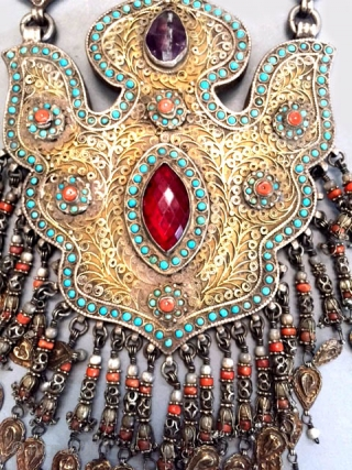 Gilt silver necklace with inlaid glass coral, turquoise and mother of pearl from Khiva area of Khorezm Uzbekistan late 19th/early 20th c