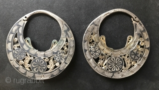 silver gilt earrings from Daghestan with open work, niello ,  filigree and granulation. lt 18th or early 19th c