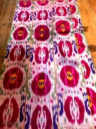 """Central Asian ikat quilt measuring 47"""" x 85"""""""