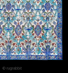 ANTIQUE CERAMIC TURKISH TILED PANEL which is the last large panel of these tiles we discovered in a derelict warehouse in Malaga where they had been stored since the early 1980s. They  ...
