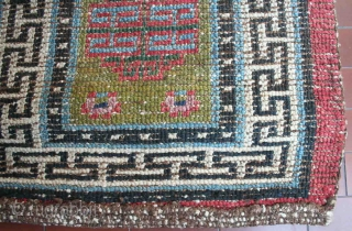 "Very old big knot Tibetan ""runner"", 228 x 66 cm, narrow XIX century type, rare green field, bright colors, heavy w&w wool structure, hand-spun wool, very good condition, no repair."