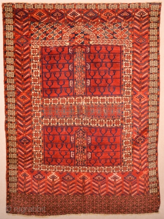 Circa 1850s Central Asian Tekke Engsi It Has Really Good Shiny Wool Size 118 x 165 cm It's in good condition ıt has only small repairs.