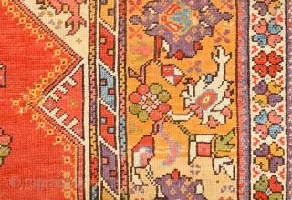 West Anatolian Melas Prayer Rug ıt has great colors on it.Circa 1840 Size 112 x 150 cm