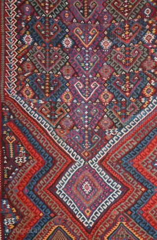 19th Century East Anatolian Kilim.It's in perfect condition and has great colors.The border colors is apricot.Ready to use it.Untouched one.Large Size 152 x 440 Cm