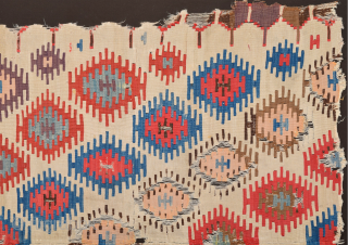 Early example!A fragment of a two-panel kilim from the surroundings of Central Anatolian Sivas, 18th Century Kilim Fragment. It has perfect colors and archaic ends. Size 135 x 230 cm It has  ...