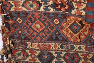 Really Unusual Early 19 Century Shahsavan Weft-Less.It Has Condition Problem But Has Great Qualty And Colors.Size 55 x 100 Cm.As I Found It.