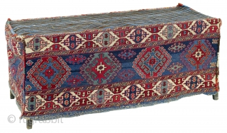 """Second half 19th century South East Caucasus, Moghan region Called """"mafrash"""", these large flatweaves with four sides and a kilim base were used by the Shahsavan nomads like containers for storing utensils,  ..."""