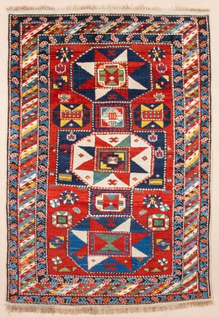 Middle of 19th Century Kuba Shirvan Rug.It has unusual design and ıt's in very good condition size 110 x 160 cm
