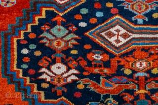 Very Beautiful Persian Khamseh Rug circa 1870s size 150 x 192 cm