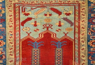 """Late 18th Century Anatolian Ladik Rug.The term """"prayer rug"""", once obligatory for describing any rug presenting a mihrab and niche design, implied that the rugs were used for this purpose. However, it  ..."""