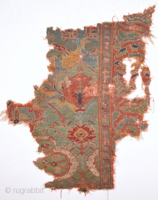 Early 18th Century Anatolian Ushak Fragment It has great colors.Size 100 x 120 Cm.If Would You like It We Can Mounted With Proffesional Work.Or Keep As it is.