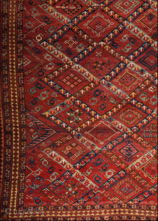 a rare example of Turkmenistan Beshir Main Rug. It's in good condition but not a high pile. All original untouched.All sides are original. Size 167 x 305 cm Cleaned professionally.