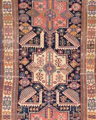 Early 19th Century Caucasian Akstafa Rug.As Found it.It Has Good Animals Details.Size 116 x 282 Cm.