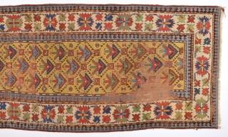 Mid.19th Century Caucasian Yellow Ground Gendje Rug Size 111 x 267 Cm.