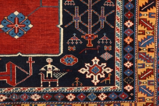 19th Century Caucasian Karagasli Rug.It's in perfect condition and ıt has many great person and animal details.Really fine one.Size 125 x 185 Cm
