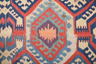 Circa 1800s Anatolian Collectible Konya Kilim Fragment It Has Great Colors Size 112 x 325 Cm