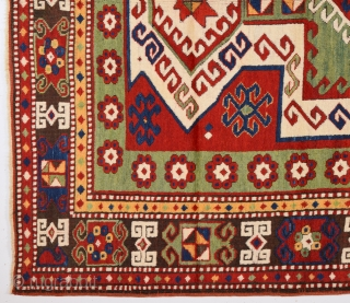 Mid 19th Century Caucasian Sevan Shield Rug.It's in Perfect Condition And Untouched One.Size 160 x 215 Cm