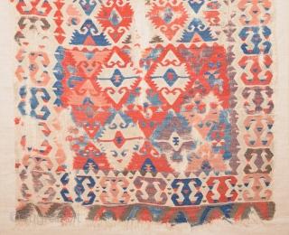 18th Century Colorful Central Anatolian Sivrihisar Kilim.It Has Unusual Small Size 105 x 160 Cm