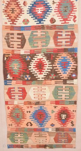Circa 1800s Anatolian Sivas Kilim Fragment.The Color of the Combination is Perfect.Size 75 x 185 Cm