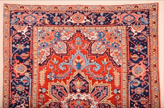 Late 19th Century North West Persia, Heriz Rug.The antique Small-format carpets woven in the Heriz region of North West Persia feature simple yet powerful compositions of two-dimensional designs drawn in a geometric  ...