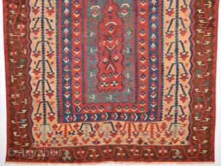 Mid. 19th Century An Unusual Anatolian Erzurum Kilim 160 x 183 Cm