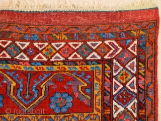 Circa 1800s Early example of Central anatolian Konya Prayer Rug.It's in perfect condition all sides, ends and all knots are original untouched.It has great colors.Size 113 x 153 cm