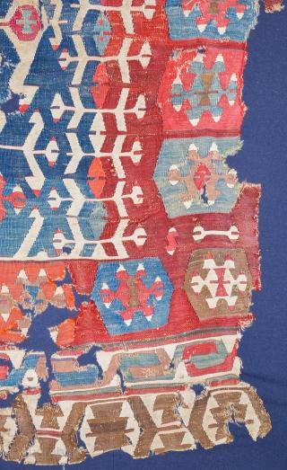 18th Century Early example of Anatolian Manisa Kilim ıt's already mounted on linen.Size 160 x 360 cm
