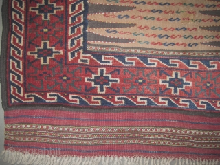 """Soufre Kurd Persian circa 1915 antique. Collector's item. Size: 145 x 76 (cm) 4' 9"""" x 2' 6""""  carept ID: E-421 The knots are hand spun wool, the black color is  ..."""