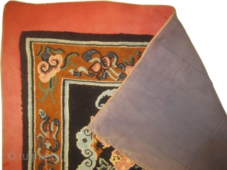 Chinese dragon rug, old, 95 x 174 cm, carpet ID: SRO-5 The background is indigo, thick pile, in perfect condition.