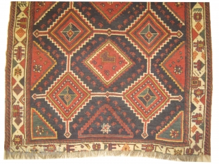 Louristan Persian, knotted circa in 1905 antique, 153 x 213 cm, carpet ID: DD-7 The knots, the warp and the weft threads are hand spun wool. Allover geometric design, the last tiny border  ...
