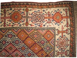 """Qashqai Persian, knotted circa in 1870 antique, collector's item,  172 x 130 (cm) 5' 8"""" x 4' 3""""  carpet ID: K-4719 The knots, the warp and the weft threads are  ..."""