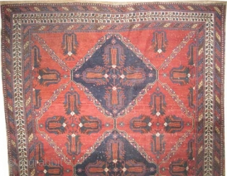 """Afshar Persian, knotted circa in 1915, antique, collector's item, 165 x 127 (cm) 5' 5"""" x 4' 2""""  carpet ID: K-5690 The black color is oxidized, the knots are hand spun  ..."""