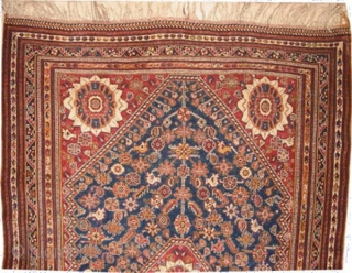 """Mille Fleurs Qashqai Persian, knotted circa in 1910, antique, collector's item. 203 x 128 (cm) 6' 8"""" x 4' 2""""  carpet ID: K-570 Mille Fleurs design, indigo background, high pile, in excellent  ..."""