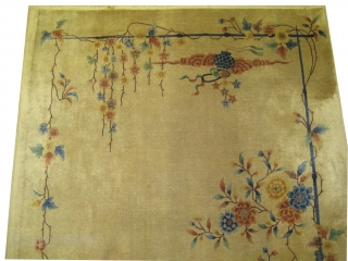 """Art Deco Chinese circa 1925. Size: 296 x 213 (cm) 9' 8"""" x 7'   carpet ID: P-4429  Acceptable condition. Art Deco period, the knots are hand spun lamb wool, fine knotted,  ..."""