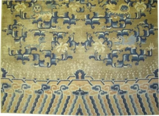 """Chinese lion/dogs circa 1885 antique. Collector's item, Size: 244 x 154 (cm) 8'  x 5' 1""""  carpet ID: K-4673  decorated with nine lion-dogs, the knots are hand spun wool, the  ..."""