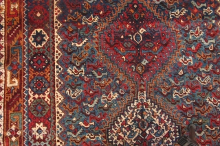 Rug no: 664, Nomadic Qashqai, rare, circa 1900, very good condition. Restored on sides and ends only, all wool, size:164x116cm. Southern Persia.